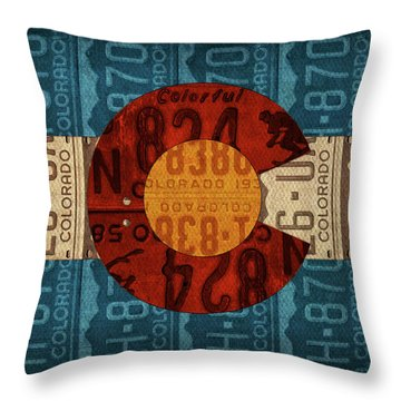 State Flag Of Colorado Recycled License Plate Art Throw Pillow by Design Turnpike