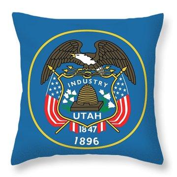State Flag Of Utah Throw Pillow