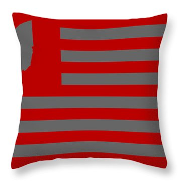 State Of Ohio - American Flag Throw Pillow