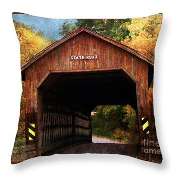 State Road Covered Bridge Throw Pillow