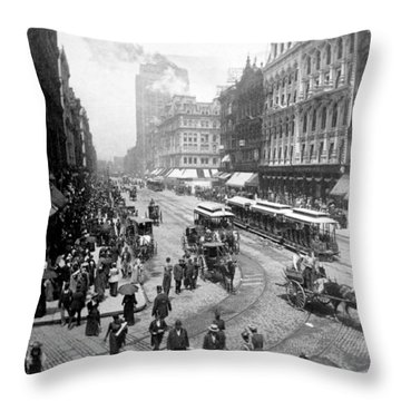 State Street - Chicago Illinois - C 1893 Throw Pillow by International  Images