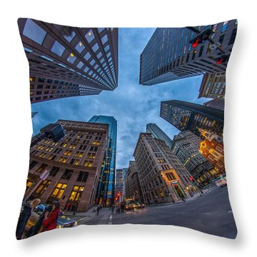 State Street Look Up Boston Ma Throw Pillow