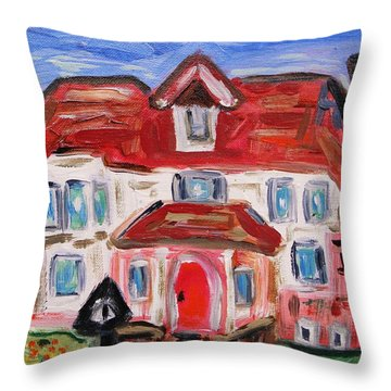 Stately City House Throw Pillow by Mary Carol Williams