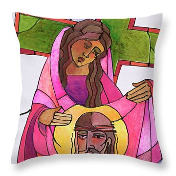 Stations Of The Cross - 06 St. Veronica Wipes The Face Of Jesus - Mmvew Throw Pillow