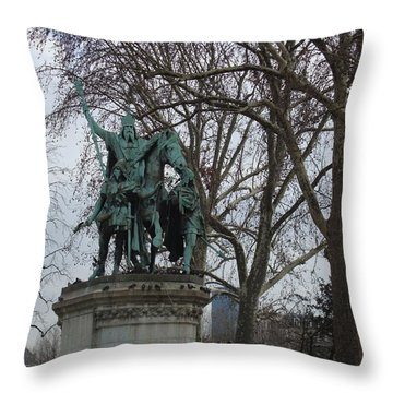 Statue At Notre Dame Throw Pillow