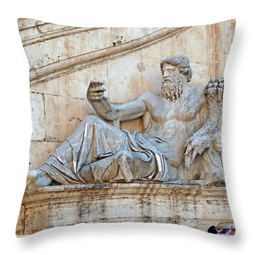 Statue Capitoline Hill Of Rome Italy Throw Pillow by Eva Kaufman