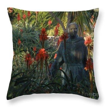 Statue In The Garden  Throw Pillow