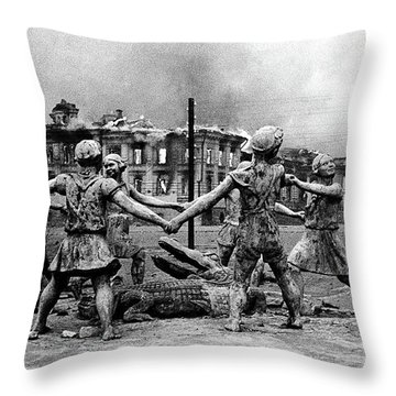 Statue Of Children After Nazi Airstrikes Center Of Stalingrad 1942 Throw Pillow