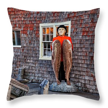Statue Of Fisherman Holding Cod Peggy's Cove Throw Pillow