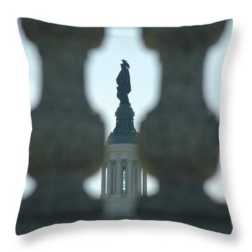 Statue Of Freedom Through Railing Throw Pillow