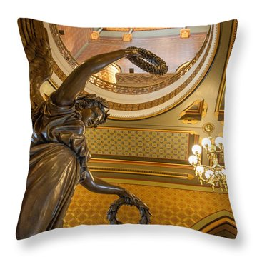 Statue Of Genius Vertical Throw Pillow