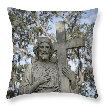 Throw Pillow featuring the photograph Statue Of Jesus And Cross by Kim Hojnacki