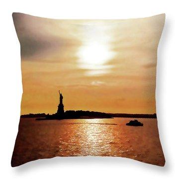 Statue Of Liberty At Sunset Throw Pillow