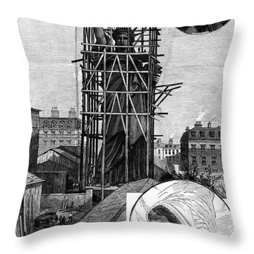 Statue Of Liberty, C1884 Throw Pillow by Granger
