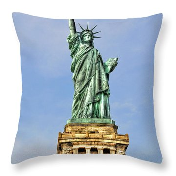 Statue Of Liberty Front View Throw Pillow by Randy Aveille
