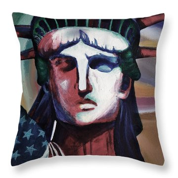 Statue Of Liberty Hb5t Throw Pillow by Gull G