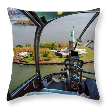 Statue Of Liberty Helicopter Throw Pillow