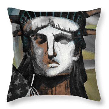 statue of liberty KJ78 Throw Pillow by Gull G