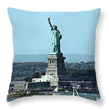 Statue Of Liberty Throw Pillow by Kristin Elmquist