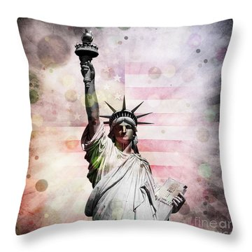 Throw Pillow featuring the digital art Statue Of Liberty by Phil Perkins