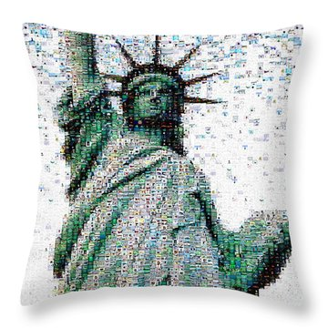 Statue Of Liberty Photo Mosaic Throw Pillow by Wernher Krutein