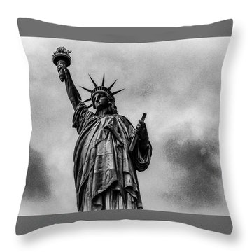 Throw Pillow featuring the photograph Statue Of Liberty Photograph by Louis Dallara