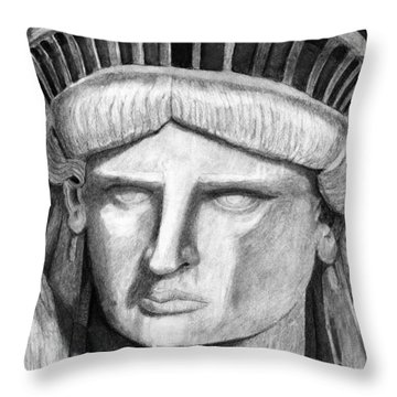 Throw Pillow featuring the digital art Statue Of Liberty Selfie by Terry Cork