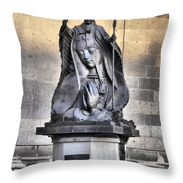 Throw Pillow featuring the photograph Statue Of Pope John Paul by Jim Walls PhotoArtist