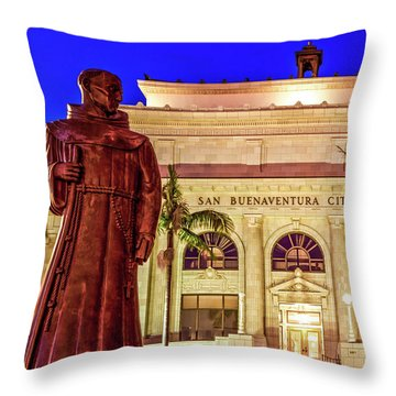 Statue Of Saint Junipero Serra In Front Of San Buenaventura City Hall Throw Pillow