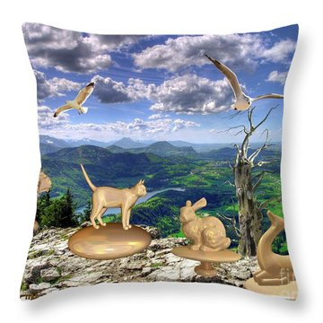 Statues Of The Rock Throw Pillow