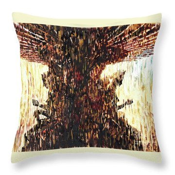 Throw Pillow featuring the painting Statues On Las Vegas Fountain- Las Vegas, Nevada by Ryan Fox