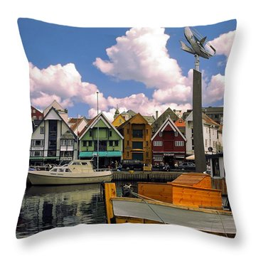 Stavanger Harbor Throw Pillow by Sally Weigand