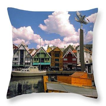 Stavanger Harbor Throw Pillow