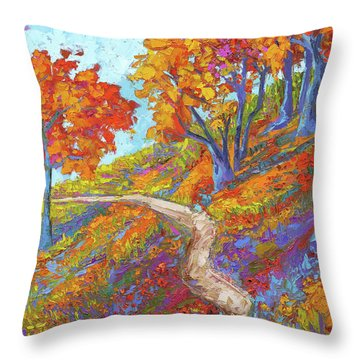 Throw Pillow featuring the painting Stay On The Path - Modern Impressionist, Landscape Painting, Oil Palette Knife by Patricia Awapara
