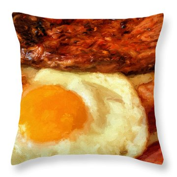 Steak And Eggs Throw Pillow by JC Findley
