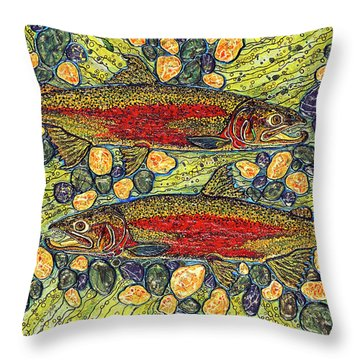 Throw Pillow featuring the painting Stealhead Trout by Debbie Chamberlin