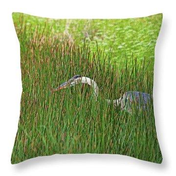 Stealth Heron Throw Pillow
