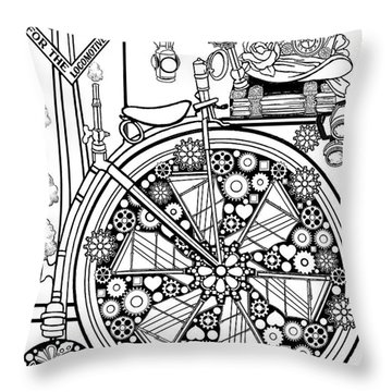 Steam Cycle Throw Pillow