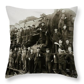 Steam Engine 351 On Turntable Coxton Yards Coxton Pennsylvania Early 1900s Throw Pillow