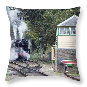 Steam Engine Approaching Alton Throw Pillow