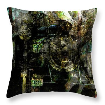 Steam Engine At Bay Throw Pillow by Robert Ball