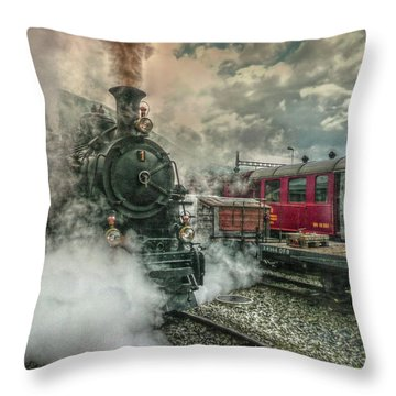 Throw Pillow featuring the photograph Steam Engine by Hanny Heim