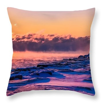 Steam Fog Two Panorama Throw Pillow