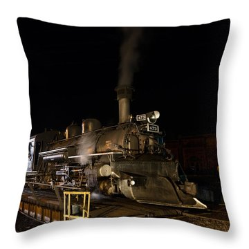 Throw Pillow featuring the photograph Locomotive And Coal Tender On A Turntable Of The Durango And Silverton Narrow Gauge Railroad by Carol M Highsmith