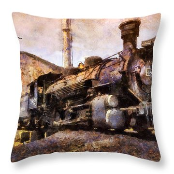 Throw Pillow featuring the digital art Steam Locomotive by Ian Mitchell