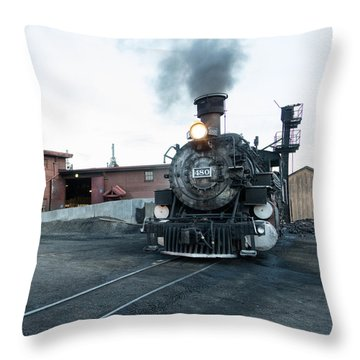 Throw Pillow featuring the photograph Steam Locomotive In The Train Yard Of The Durango And Silverton Narrow Gauge Railroad In Durango by Carol M Highsmith