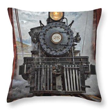 Steam Locomotive Throw Pillow by Mitch Shindelbower
