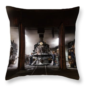 Steam Locomotives In The Roundhouse Of The Durango And Silverton Narrow Gauge Railroad In Durango Throw Pillow by Carol M Highsmith