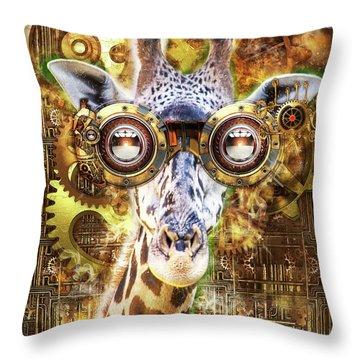Steam Punk Giraffe Throw Pillow