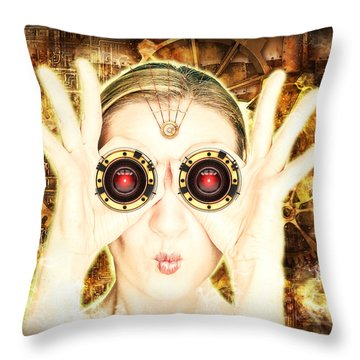 Steam Punk Lady With Bins Throw Pillow